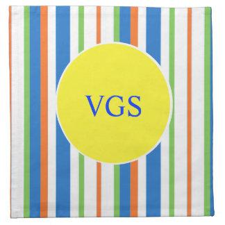 Monograma rayado coloreado multi servilletas