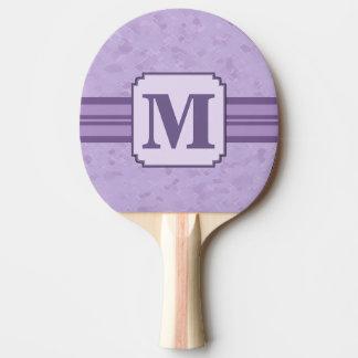 Monograma rayado de encargo de la lavanda púrpura pala de tenis de mesa