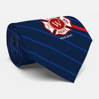 Monograma rayado de la cruz maltesa del rescate corbata personalizada