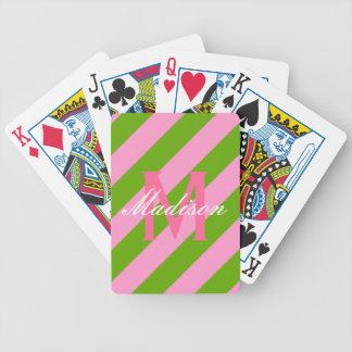 Monograma rayado de muy buen gusto del rosa y de l baraja de cartas