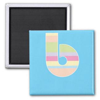 Monograma rayado multicolor - letra B Imán Cuadrado