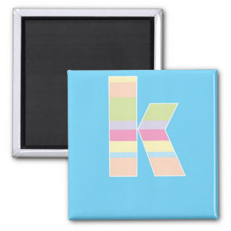 Monograma rayado multicolor - letra K Imán Cuadrado
