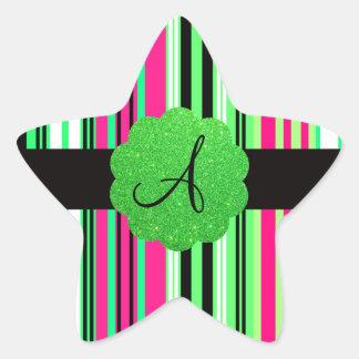 Monograma rayado negro rosado verde pegatina en forma de estrella