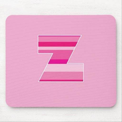 Monograma rayado rosado - letra Z Alfombrillas De Ratones