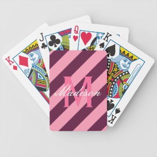 Monograma rayado rosado y marrón de muy buen gusto cartas de juego