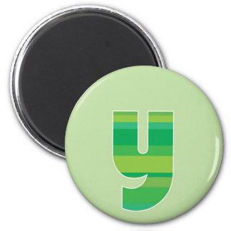Monograma rayado verde - letra Y Imán Redondo 5 Cm
