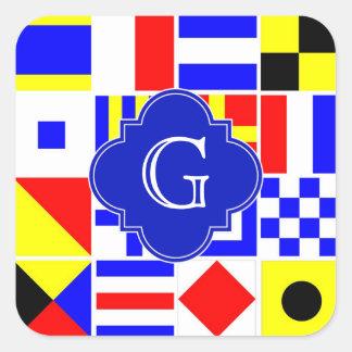 Monograma real de Quatrefoil de las banderas de Pegatina Cuadrada