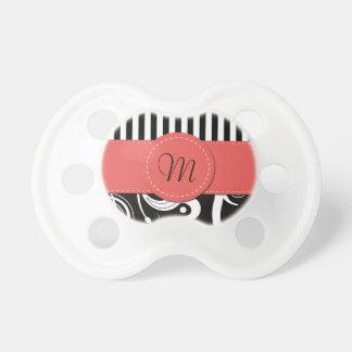 Monograma - remolinos, rayas - rojo blanco negro chupetes de bebé
