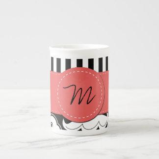Monograma - remolinos, rayas - rojo blanco negro taza de porcelana