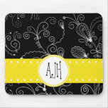 Monograma - remolinos rizados - amarillo blanco ne tapete de raton