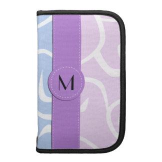 Monograma - remolinos rizados - púrpura blanca organizador
