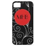 Monograma - remolinos rizados - rojo blanco negro iPhone 5 Case-Mate cobertura