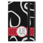 Monograma - remolinos rizados - rojo blanco negro iPad mini carcasas