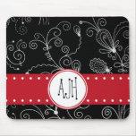Monograma - remolinos rizados - rojo blanco negro alfombrilla de ratones