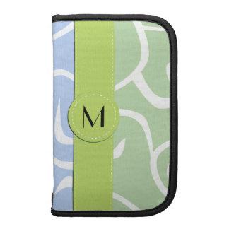 Monograma - remolinos rizados - verde blanco azul planificador