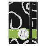 Monograma - remolinos rizados - verde blanco negro iPad mini cárcasa