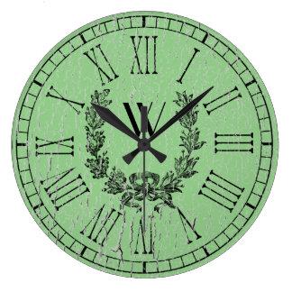 Monograma resistido de la guirnalda del francés reloj redondo grande