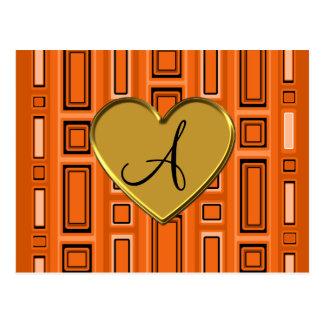 Monograma retro anaranjado de los cuadrados postal