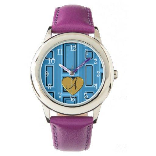 Monograma retro azul brumoso de los cuadrados reloj