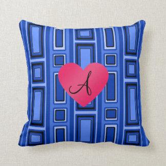 Monograma retro azul de los cuadrados almohadas