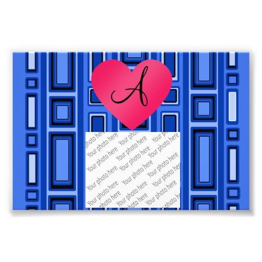 Monograma retro azul de los cuadrados fotografía
