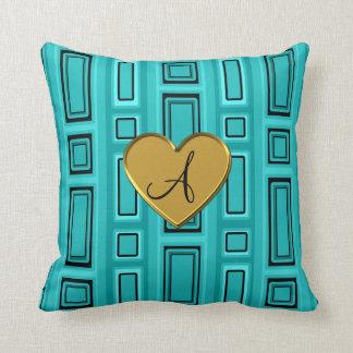 Monograma retro de los cuadrados de la turquesa almohada