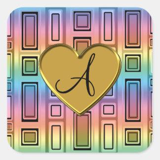 Monograma retro de los cuadrados del arco iris pegatina cuadrada