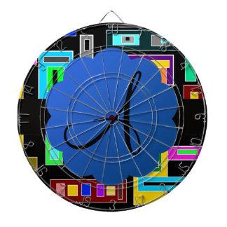 Monograma retro de los cuadrados tablero de dardos