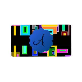Monograma retro de los cuadrados etiqueta de dirección