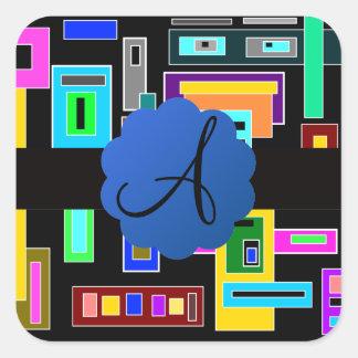 Monograma retro de los cuadrados pegatina cuadrada