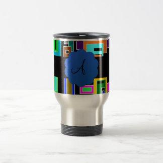 Monograma retro de los cuadrados taza de viaje de acero inoxidable
