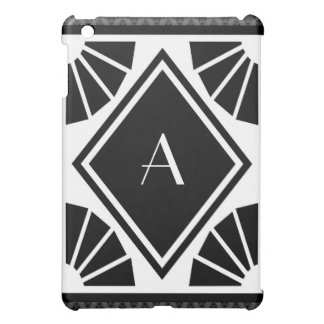 Monograma retro del art déco en blanco y negro