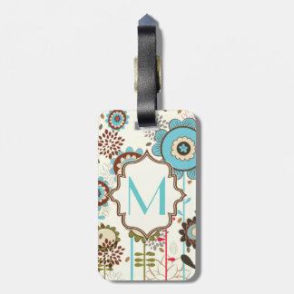 Monograma retro lindo del estampado de flores de l etiquetas de equipaje