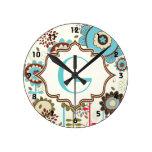 Monograma retro lindo del estampado de flores de l reloj