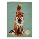 Monograma retro Notecard del Fox y del búho