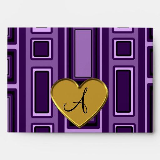 Monograma retro púrpura de los cuadrados