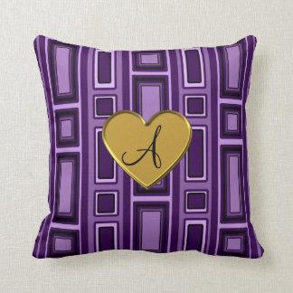 Monograma retro púrpura de los cuadrados cojines