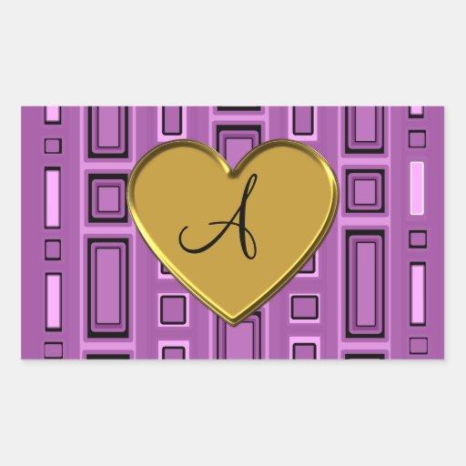 Monograma retro púrpura de los cuadrados de la pegatina rectangular