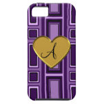 Monograma retro púrpura de los cuadrados iPhone 5 funda