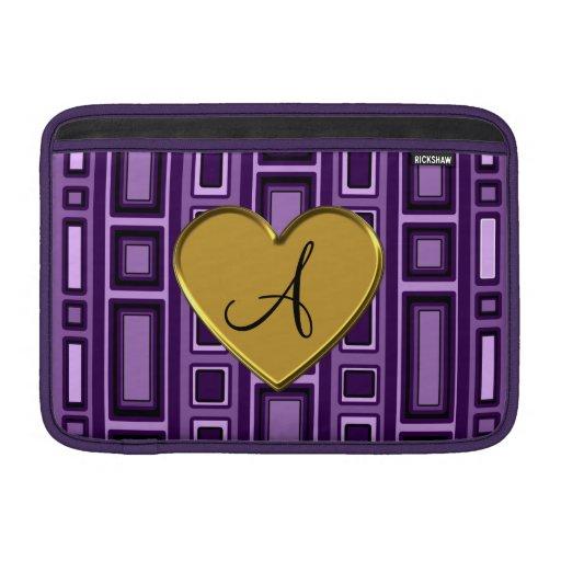 Monograma retro púrpura de los cuadrados fundas para macbook air