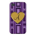 Monograma retro púrpura de los cuadrados iPhone 4 coberturas