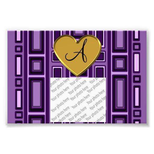 Monograma retro púrpura de los cuadrados impresion fotografica