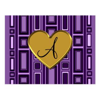 Monograma retro púrpura de los cuadrados postal