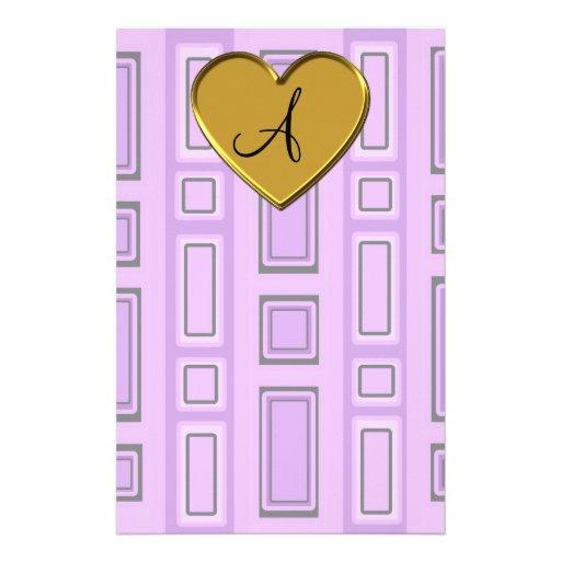 Monograma retro púrpura en colores pastel de los c  papeleria de diseño