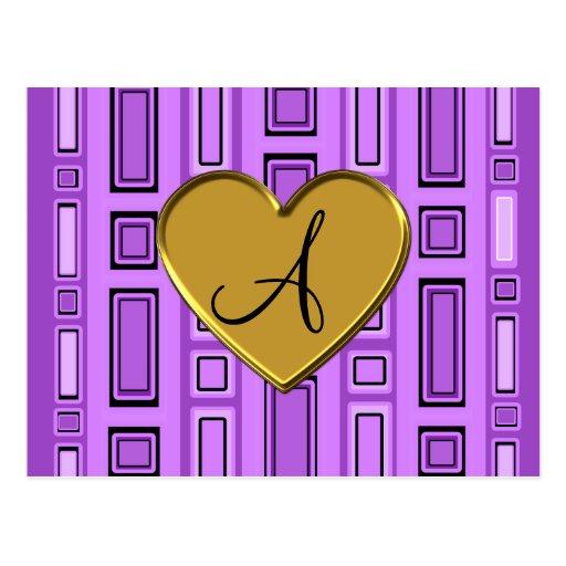 Monograma retro púrpura en colores pastel de los postal