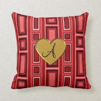 Monograma retro rojo de los cuadrados almohada