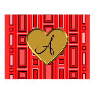 Monograma retro rojo de neón de los cuadrados postal