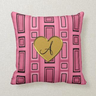 Monograma retro rosado de los cuadrados almohada