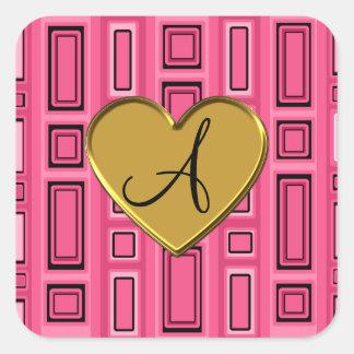 Monograma retro rosado de los cuadrados pegatina cuadrada