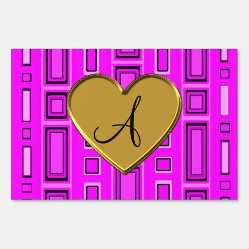 Monograma retro rosado de neón de los cuadrados